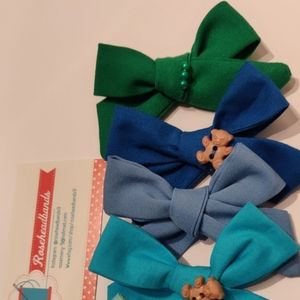 School Girl Pigtail Bows Clip Set